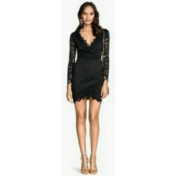 Hm Dresses New Hm Lace Long Sleeve V Neck Black Dress Poshmark