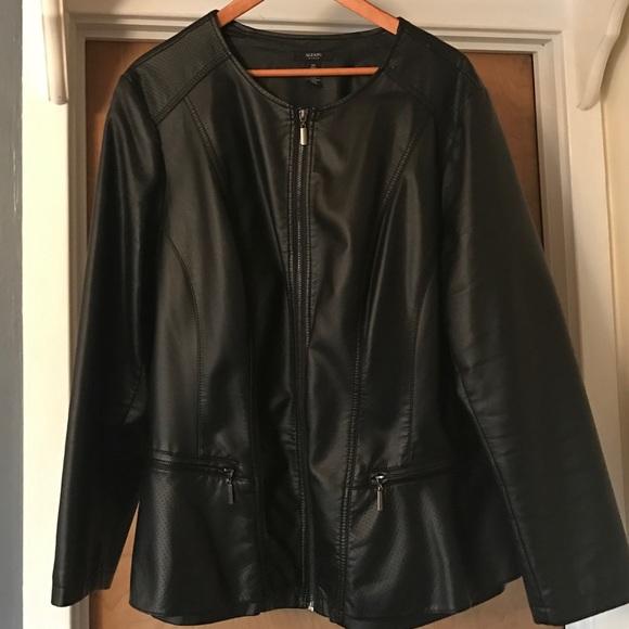 696c0baa79342 Alfani Jackets   Blazers - PLUS Collarless Faux-Leather Peplum Moto Jacket