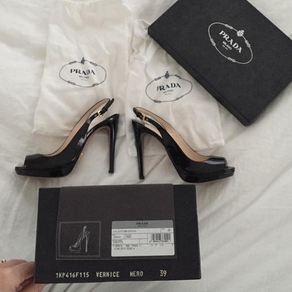 14166298282 prada peep toe slingback sandal black patent