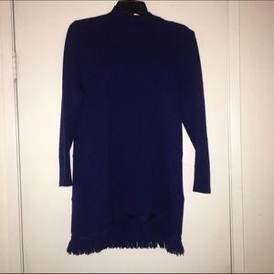 Large St. John separates royal blue fringe sweater