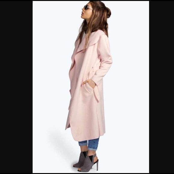 26% off Boohoo Jackets & Blazers - Dusty Pink Belted Shawl Collar ...