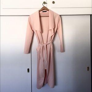 Boohoo Jackets & Blazers - Dusty Pink Belted Shawl Collar Coat