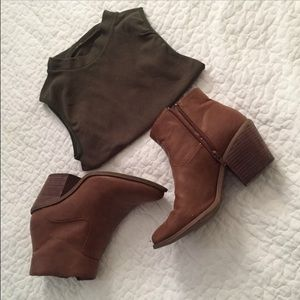 Brown Leather (faux) Chelsea booties