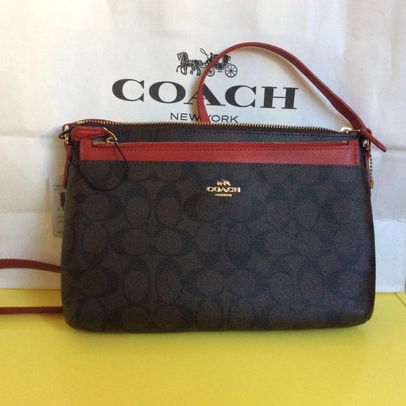 Coach Signature Crossbody Bag Detachable Pochette