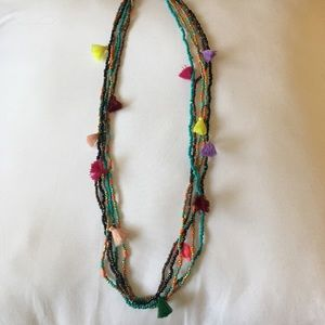 Jewelry - Bead and fringe layering necklace
