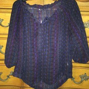 thin black blouse w/t purple,white and blue print