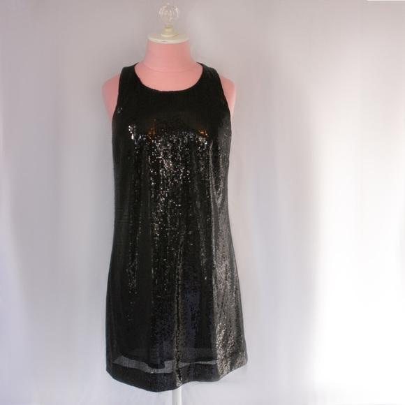 Black Sequin Mini Dress Tank
