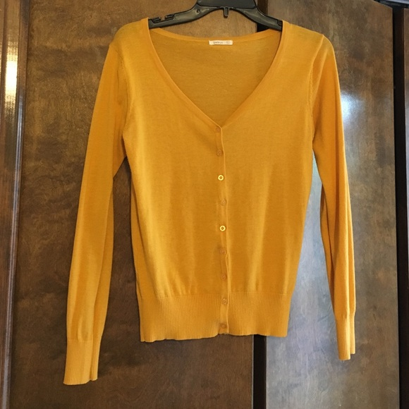 63% off Debut Sweaters - ‼️SALE‼ Mustard-yellow V-neck cardigan ...
