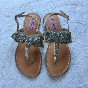 Mojo Moxy Shoes - Silver Bow Sandals