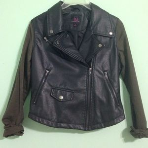 Faux leather and olive jacket