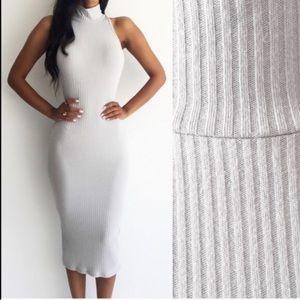 wearinla Dresses & Skirts - Turtleneck knit dress purple gray midi sleeveless