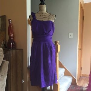 Dresses & Skirts - Purple Roses One Shoulder Dress with Pockets