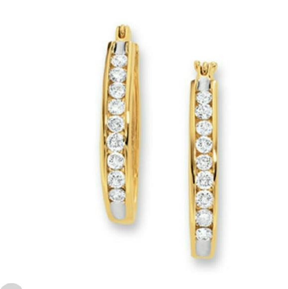 Zales Dome J-Hoop Earrings in 14K Gold SdmREHe