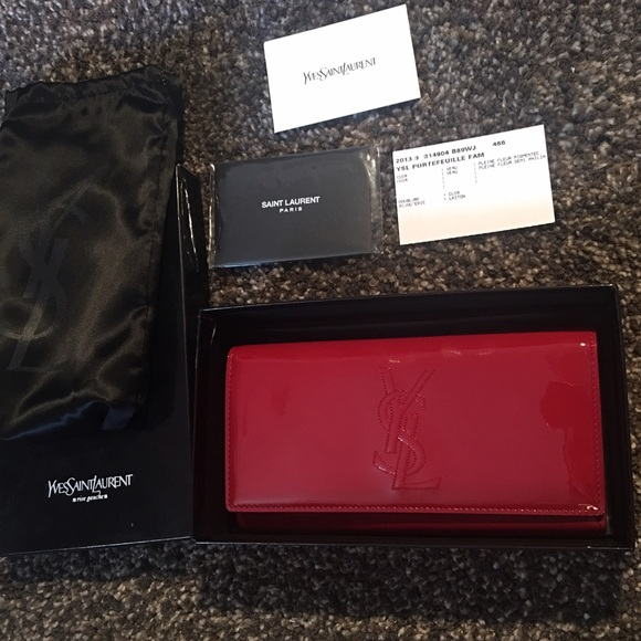 ad5e486d3a6 Yves Saint Laurent Bags | Nib Ysl Logo Clutch Wallet Red | Poshmark