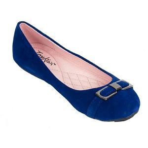Women Buckle Ballet Flats, b-1647, Royal Blue