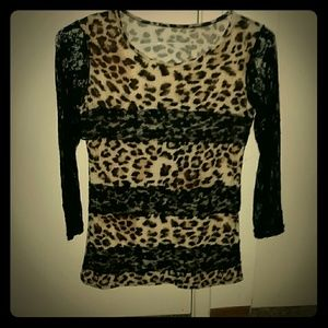 Tops - *Leopard and Lace Shirt* NWOT
