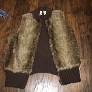 Tiara Jackets & Blazers - Tiara brown faux fur sweater vest