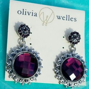 NWT Olivia Welles Amethyst Double Circle Earrings