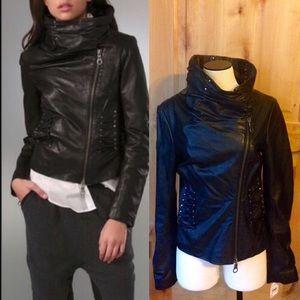 L.A.M.B. Jackets & Blazers - LAMB Blk Leather Funnel Collar Moto Jacket NWT 10