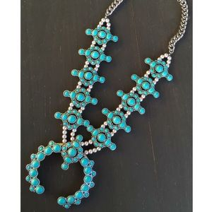 Silver & Turquoise Squash Blossom Necklace