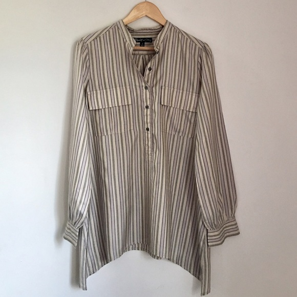 8f53cb3784c324 Elizabeth and James Tops - Elizabeth and James Silk Striped Tunic