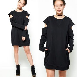 Dresses & Skirts - Cut Out Sleeves Dress- BLACK