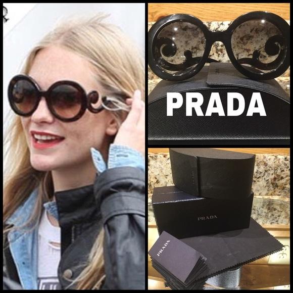 17de3b9b9de3 Authentic Black Round Prada Baroque Sunglasses  32.  M 586314be6d64bc76f30238b6