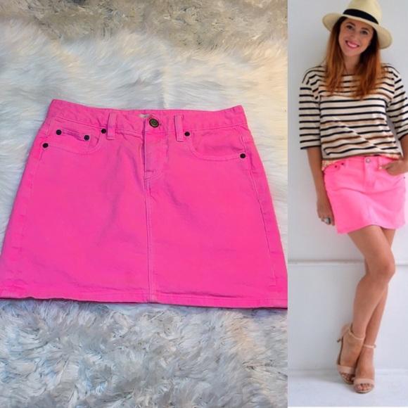 7483ed4429 J. Crew Dresses & Skirts - J. Crew Hot Pink Denim Skirt