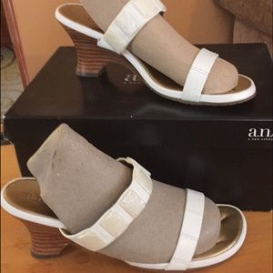 Marcia White Strapped Wedge Heels