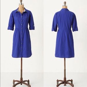 Anthropologie Odille Lapis Lazuli Shirtdress