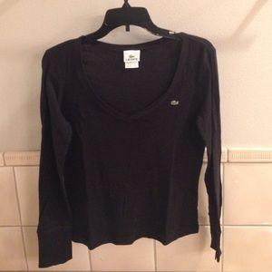 Black long sleeve Lacoste v-neck scoop t-shirt