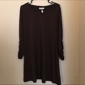 Brown Qtr Sleeve Shift Dress