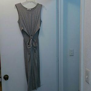 Gray cut out dress.