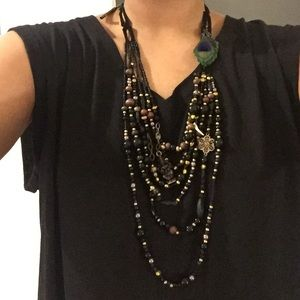 Lucky Brand shiva 6 layer bead peacock necklace