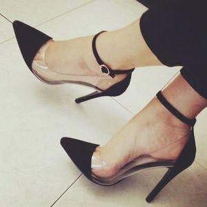 Plastic clear black velvet heels