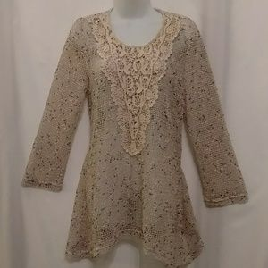 Open Weave Mesh Lace Front Long Tunic Top NWOT!