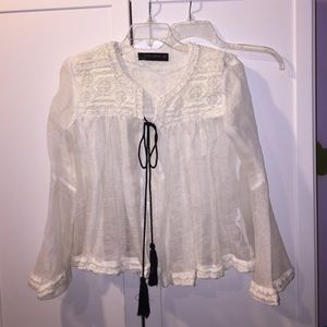 Zara embroidered linen tassel cardigan