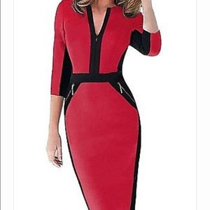 Curvy Couture Dresses & Skirts - 🐣🐣Red Black Slimming Color Block Dress NWT Sz M
