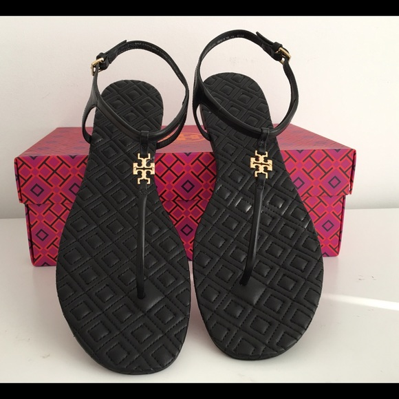 9b66a1dcb39 TORY BURCH MARION QUILTED T-STRAP SANDALS IN BLACK