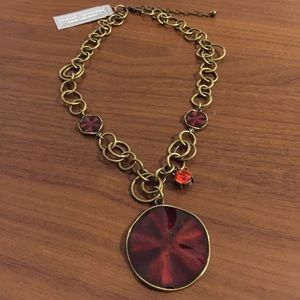Beautiful red enamel pendant w Swarovski Crystal