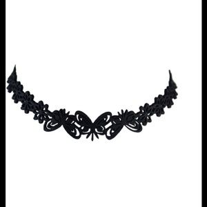 Black Butterfly Floral Hollow Out Choker Necklace