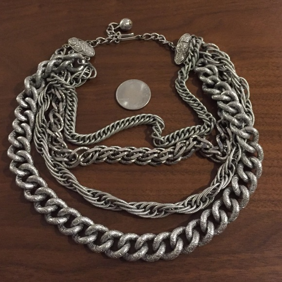 Vintage Jewelry - Gorgeous vintage multi chain rock n roll necklace