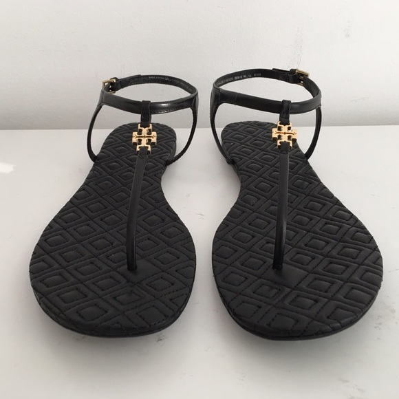 051fe42c1bc1b TORY BURCH MARION QUILTED T-STRAP SANDALS IN BLACK