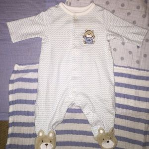 Little Me Other - Infant Bear Footie with matching blanket