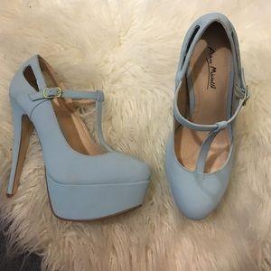 Mint blue platform heels