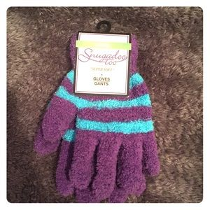 Other - Kids Fuzzy Purple and Blue striped gloves