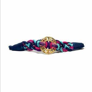 Vintage Blue Multi-Color Rope Belt w/ Gold Buckle