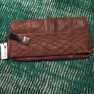 Joe's Jeans NWT Brown Oversize Leather Clutch