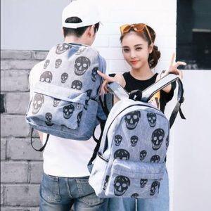Other - Skull Denim Backpack
