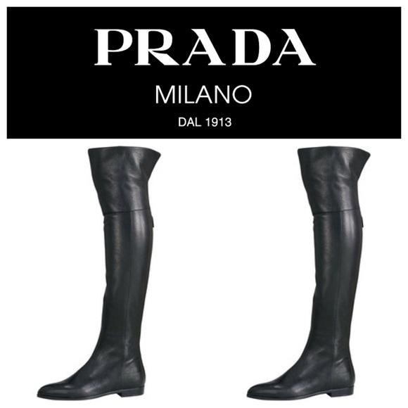 prada sneaker günstig silber, Prada overknee stiefel aus